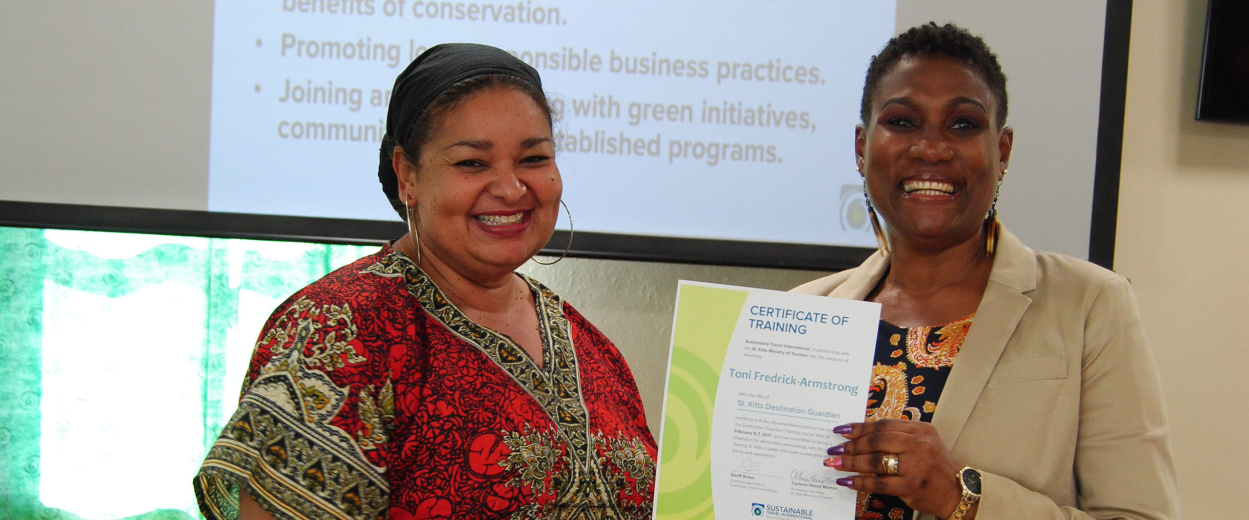Destination Guardian participant receiving training certificate