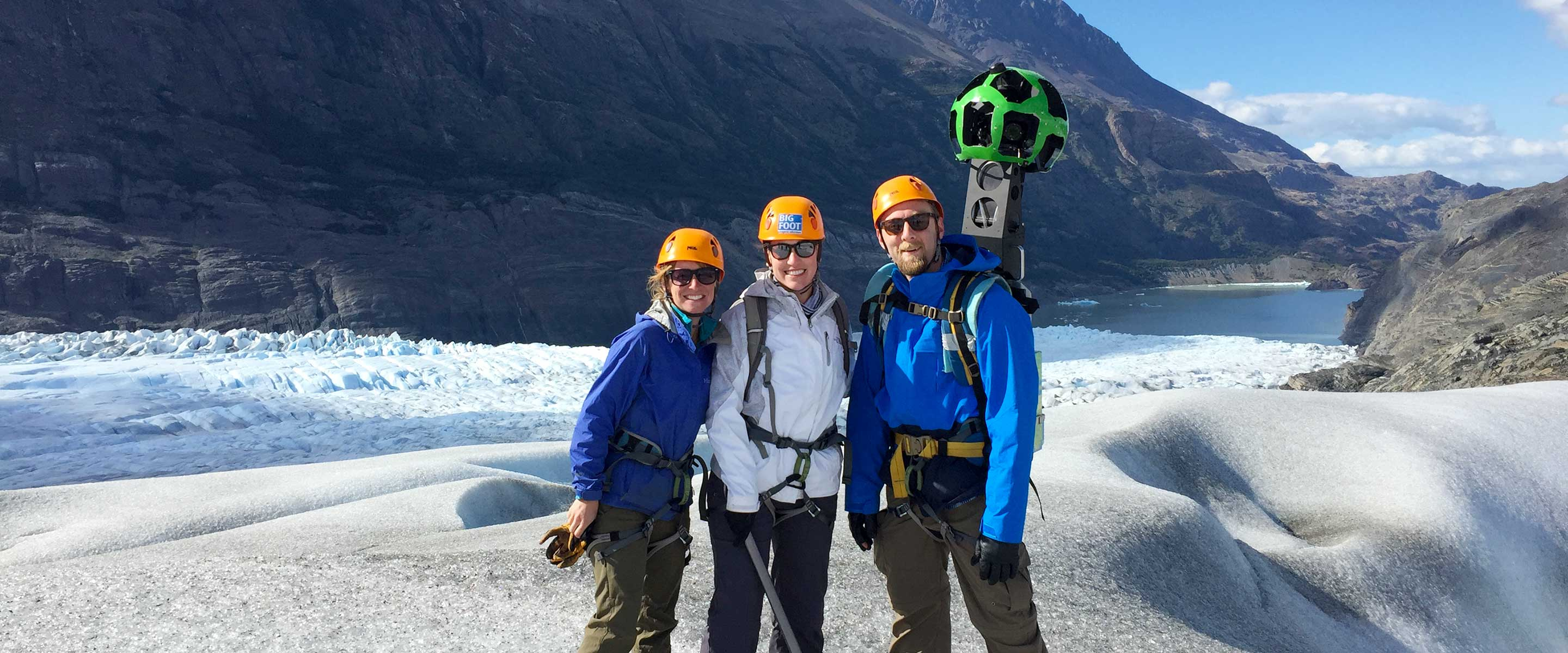 Carrying Google Trekker camera in Torres del Paine National Park
